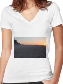 Beach Sunset Women's Fitted V-Neck T-Shirt