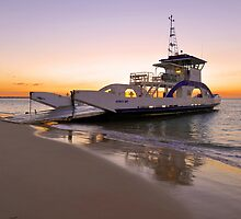 Vehicular Ferry from Inskip Point to Fraser Island. Queensland, Australia. by Ralph de Zilva