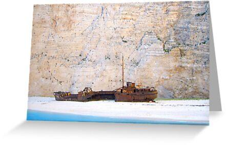 Shipwreck against Limestone Cliffs by Honor Kyne