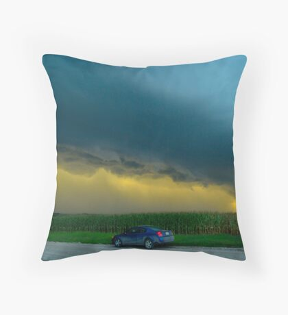 Ominous Clouds Over Corn Field  Throw Pillow