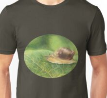 Snail on Green Leaf Oval Unisex T-Shirt