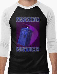The TARDIS, Anywhere, Anytime Men's Baseball ¾ T-Shirt