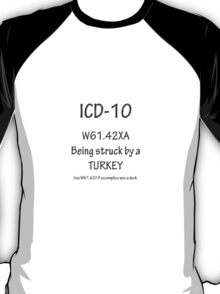 ICD-10 Must be specific: Was that a turkey?  Was he being helped by a duck? T-Shirt