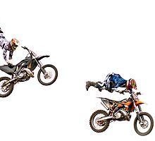 Motocross bikes in mid air jump by adamshortall