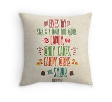 Buddy the Elf - The Four Main Food Groups Throw Pillow