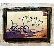 Places I Long to Go - Bicycle mixed media photo Photographic Print