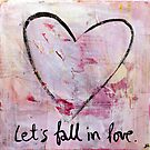 Let's Fall in Love - Heart Sketch Mixed Media Painting by DanielleQ