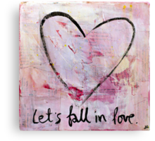 Let's Fall in Love - Heart Sketch Mixed Media Painting Canvas Print