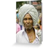 An elderly person, in palkhi procession ! Greeting Card
