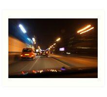 Glasgow taxi at night Art Print