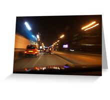 Glasgow taxi at night Greeting Card