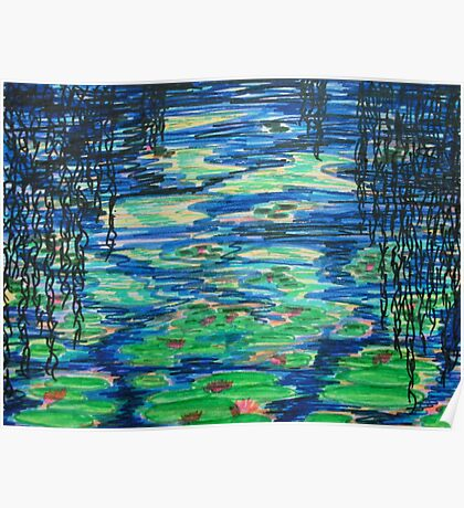 Lily Pond through Willows Poster