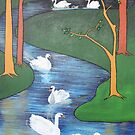Seven Swans A Swimming by taiche