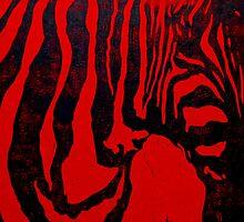 Zebra lino print on red paper by CSSART