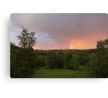 Rainbow on a summer evening Canvas Print