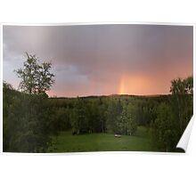Rainbow on a summer evening Poster