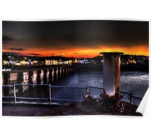 Watchet harbour in Somerset by night 2 Poster