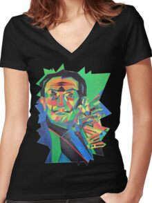 Salvador Dali with Ocelot and Cane Women's Fitted V-Neck T-Shirt