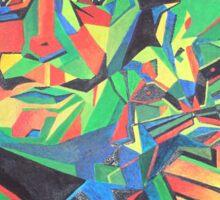 Salvador Dali with Ocelot and Cane Sticker