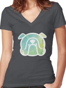 { english bulldog - blue & green watercolors - smooshfaceunited } Women's Fitted V-Neck T-Shirt