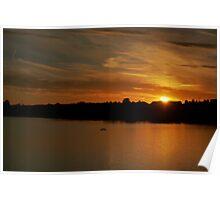 Golden sunset - Fishmoor Reservoir Blackburn Poster