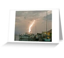 A stormy night on the water. Greeting Card