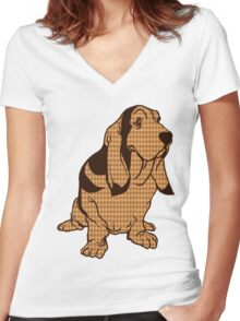 Henry the Houndstooth Hound Women's Fitted V-Neck T-Shirt