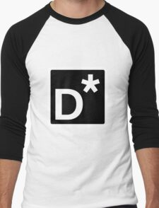 D* Square (Black) Men's Baseball ¾ T-Shirt