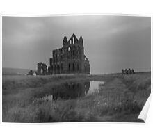 Whitby Abbey, North Yorkshire, UK in B&W Poster