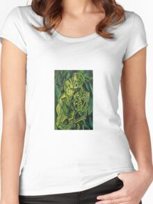 A Skeleton Embracing A Zombie Halloween Horror Women's Fitted Scoop T-Shirt