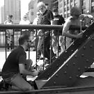 Drumming the Clark Street Bridge 4 by Polly Greathouse