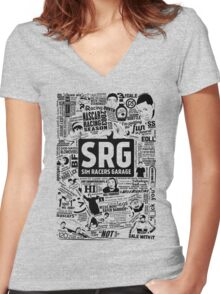 Sim Racers Garage Collage - Black w/ White Products Women's Fitted V-Neck T-Shirt