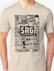 Sim Racers Garage Collage - Black w/ White Products Unisex T-Shirt
