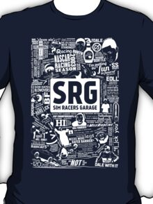 Sim Racers Garage Collage - White w/Black Products T-Shirt
