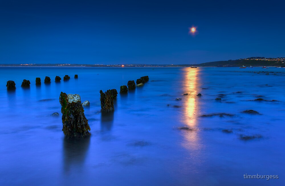 Moon over St Ives by timmburgess