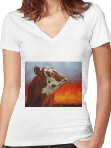 Eye Of The Firestorm Women's Fitted V-Neck T-Shirt