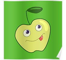 Cute Smiling Green Cartoon Apple Poster