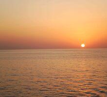 Orange Sunset at Sea by MitsukaiKogun