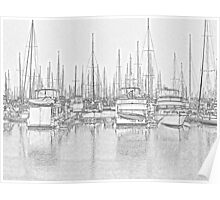 Manly Harbour, Pencil Sketch / HDR Poster