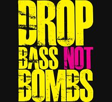 Drop Bass Not Bombs (Yellow)  Women's Fitted V-Neck T-Shirt