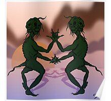 Sunset Grinch Cartoon Poster