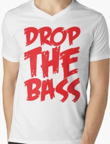 Drop The Bass (Red) Mens V-Neck T-Shirt