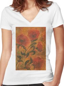 Flowers 9 Women's Fitted V-Neck T-Shirt