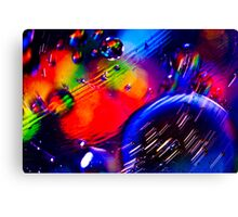 A Universe of Oil and Water Spinning Around Canvas Print