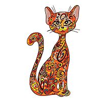 Hand drawn zentangle lace cat Photographic Print