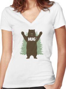 Bear Hug (Light) Women's Fitted V-Neck T-Shirt