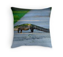Alligator Crossing Alert Throw Pillow