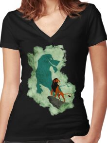 Scar smoke Women's Fitted V-Neck T-Shirt