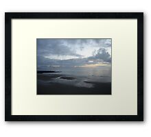 Flight of a seagull at sunset, Ballybunion, Ireland Framed Print