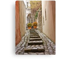 Stairs near the castle in the old town in winter, Bratislava, Slovakia, Eastern Europe, EU Canvas Print